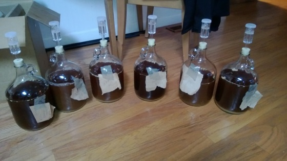Seis fermentadores llenos de mosto con sello de aire de tres piezas, listos para poner la levadura.